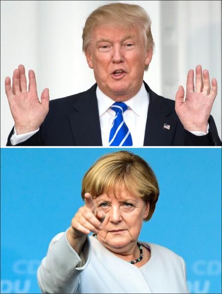 即將就任美國總統的川普將歐洲目前檯面上的傳統型政治人物視為對手,尤其愛挑德國總理梅克爾。(法新社檔案照)