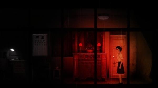返校的遊戲中,隨處可見台灣傳統文化的符號,亮著紅燈的供桌就是其中之一。(赤燭遊戲提供)