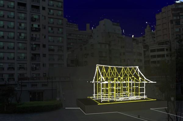 透過光影重現西本願寺歷史風貌,化身街區「光的美術館」。(北市觀傳局提供)