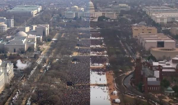 美國總統川普的就職典禮估計有70至90萬人參加(右),人數只有前總統歐巴馬於2009年就職典禮(左)的一半,從空拍照片就可明顯看出差距。(圖截自YouTube/Vox)