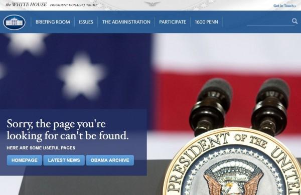 目前若鍵入白宮原先的LGBT族群官方網頁「WhiteHouse.gov/LGBT」,會出現找不到頁面,或是建議訪客前往川普的網頁另外註冊。(圖擷自網路)