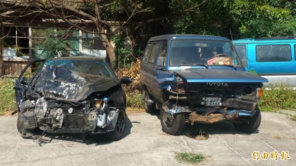 車輛對撞,老翁命危搶救。(記者蔡政珉攝)