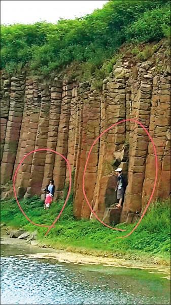 大菓葉玄武岩柱,也曾傳出遭老師攀爬。(記者劉禹慶翻攝)