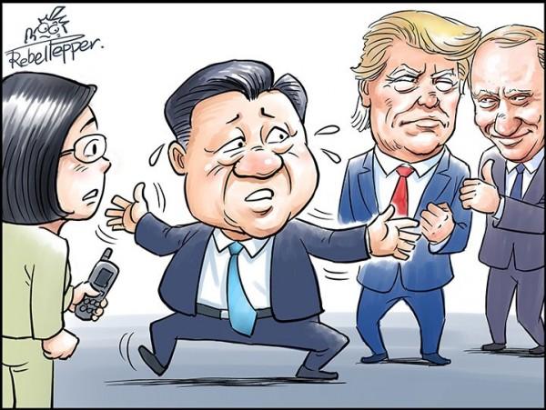 「川蔡通話」也成了王立銘的畫作主題,他稱中國大聲指責蔡英文搞小動作卻極力淡化對美國的抱怨,而俄國支持「川菜通話」則讓習近平措手不及。(圖截自日本newsweek網站)