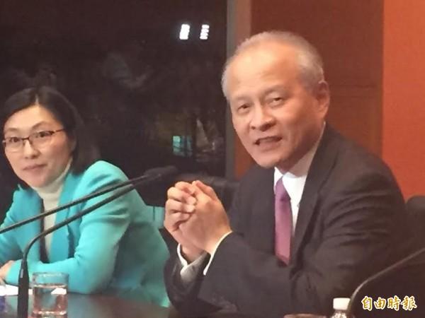 中國駐美大使崔天凱今天批評台灣有政客利用美國換政府搞小動作,是奴才心態。(記者曹郁芬攝)