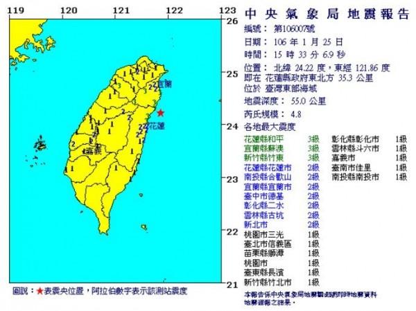 今日下午3點33分發生一起芮氏規模4.8地震,震央位於北緯24.22度、東經121.86度,約為花蓮縣政府東北方35.3公里處,震央深度則為為55公里。(圖擷取自中央氣象局)