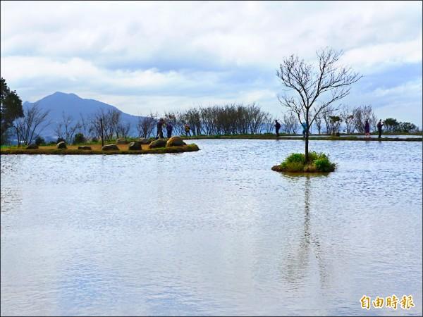新北市三芝區北八鄉道四‧五公里處濕地景觀,水、天、山相映的景致,讓許多人醉心。(記者李雅雯攝)