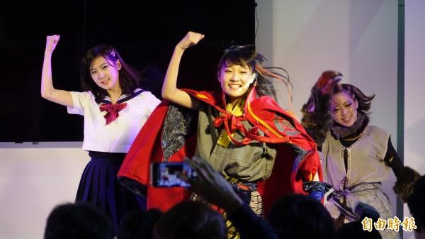 第五屆台北國際動漫節,偶像團體「戰國降臨少女INTERNATIONAL」今天首次登台演出。(記者叢昌瑾攝)