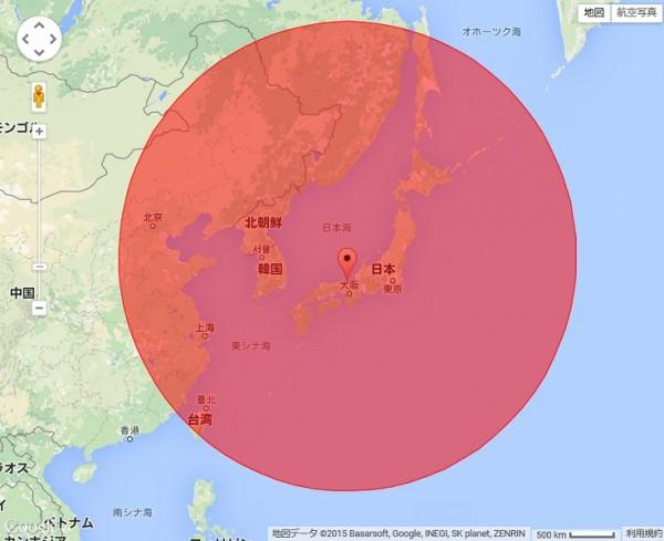 標準三型2A防空飛彈可能的射程範圍。(圖擷取自blogos)