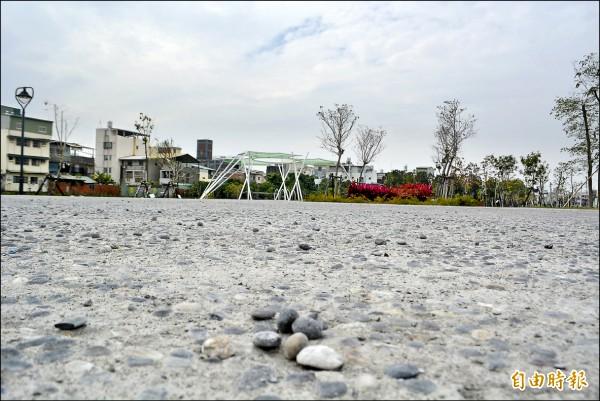 大里區瑞城公墓遷葬後綠美化,但才開放三個多月,廣場和步道的水泥鋪面都出現碎石脫落的狀況,民眾質疑品質有問題。(記者陳建志攝)