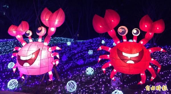 龍潭大池四周100萬顆LED燈泡齊亮,打造全國最大環湖主燈秀。(記者李容萍攝)