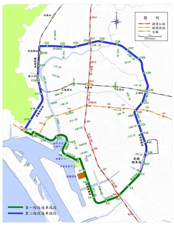 高雄輕軌第二階段(藍色)路線圖。(記者葛祐豪攝)