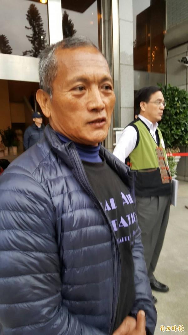 布農族獵人王光祿庭後受訪,對於起訴的檢方,今反而為他說話一事,笑答「看了很舒服」。(記者溫于德攝)