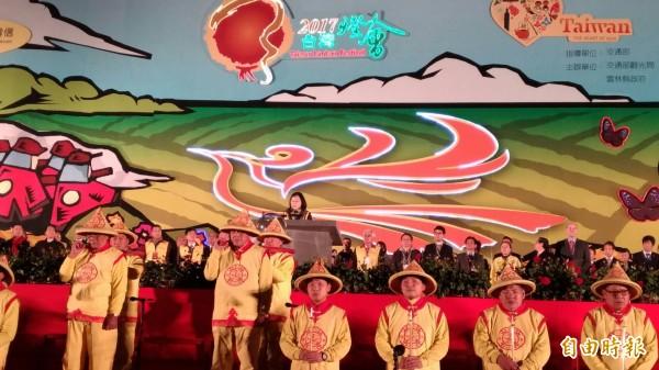 總統蔡英文主持台灣燈會點燈。(記者廖淑玲攝)