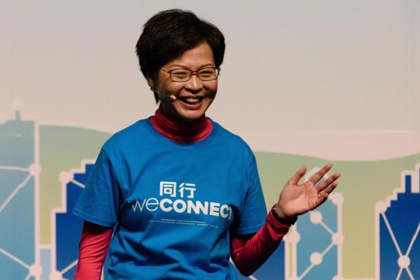 香港前政務司司長林鄭月娥,是北京當局屬意人選。(法新社)