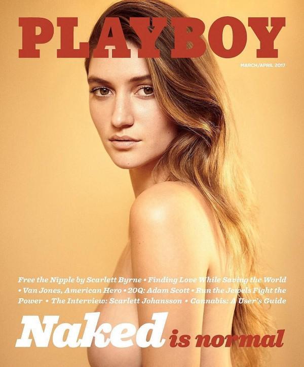 成人雜誌《花花公子》最新2017年3/4月號的標題以「裸體很正常」(Naked is normal)作為主題。 (圖擷取自推特)