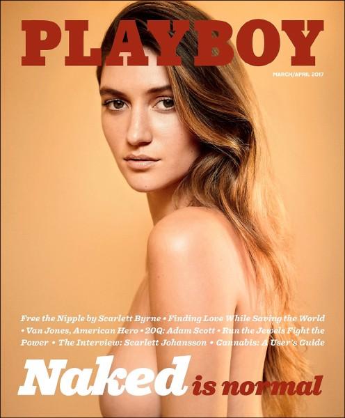 重拾傳統的花花公子三月號,以廿五歲的德州金髮美女依蘭裸體照片作為封面。(美聯社)