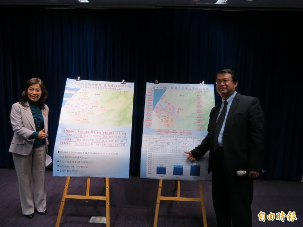 經發局長呂曜志(右)表示,台中市今年上半年自來水普及率將會超過高雄。(記者蘇金鳳攝)
