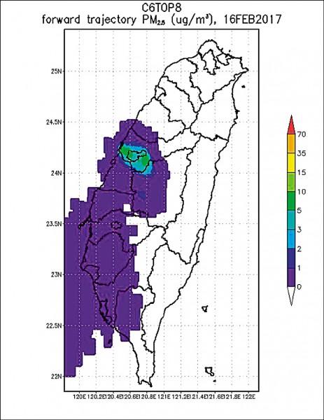 中興大學環工系教授莊秉潔PO出台灣PM2.5地圖,中南部陷入紫爆危險中,(記者蔡淑媛翻攝自莊秉潔臉書)