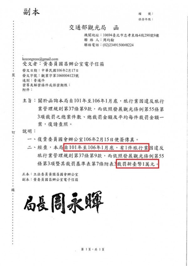 針對遊覽車駕駛超時工作,交通部觀光局過去5年來只裁罰過1件,金額1萬元。(圖片擷取自「黃國昌」臉書)