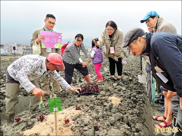 社區老農(左一)教大家如何種菜。(記者江志雄攝)