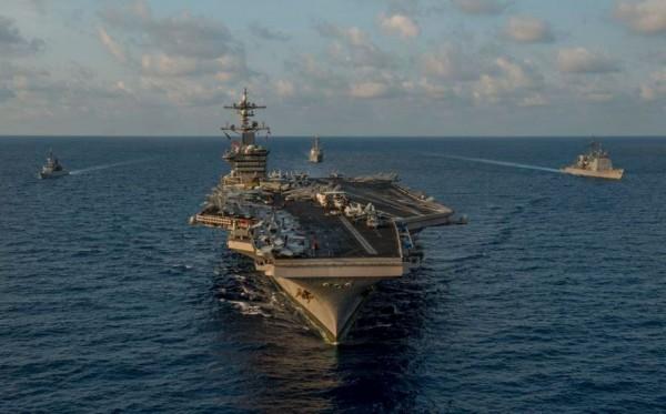 美國海軍昨天對外發出聲明,核子動力航空母艦卡爾文森號已於18日駛入南海且展開例行巡邏行動。(圖截自U.S. Pacific Fleet推特)