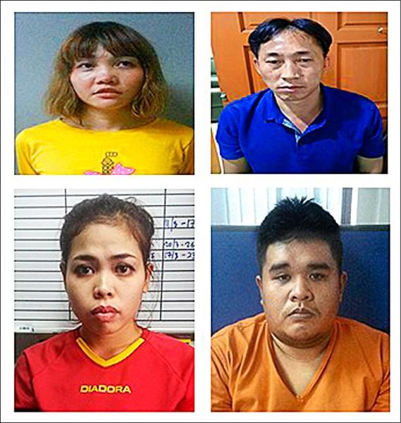 金正男遇刺迄今,馬來西亞警方逮捕28歲越南女子段氏香(左上)、25歲印尼女子艾夏(左下)、46歲北韓男子李正哲(右上),以及艾夏26歲馬來西亞籍男友賈拉魯丁(右下)。(歐新社)