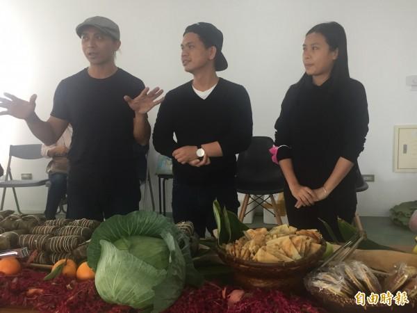 謝聖華(左起)、莊志豪、潘子甦3位新稅設計師舉辦聯合進駐茶會。(記者張存薇攝)