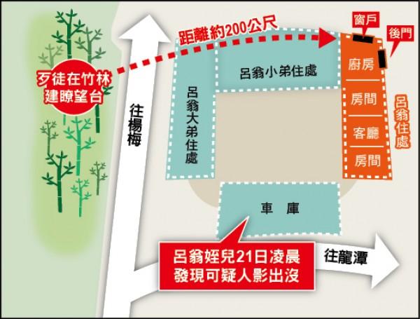歹徒設瞭望台與老翁住處相關位置圖