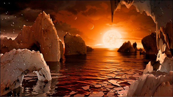 科學家在我們所處的銀河系內發現7顆類地行星,可能有水甚至存在生命。圖為NASA於22日公布的Trappist-1 F行星想像圖。(歐新社)