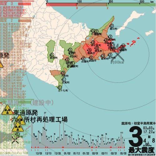台灣時間下午4點31分,在北海道根室半島東南方外海觀測到規模4.8地震。(圖擷自twitter)