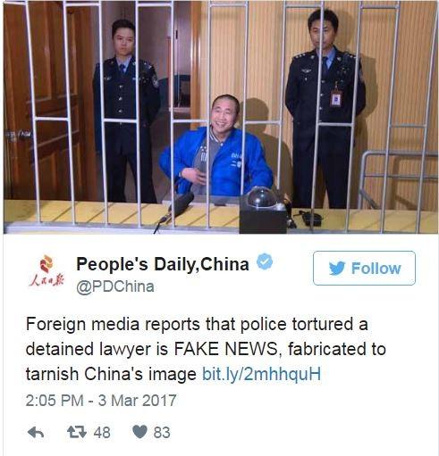 《人民日報》仿川普慣用語「FAKE NEWS」,指責外國媒體的報導是假新聞。(圖片擷取自「People's Daily,China」推特)