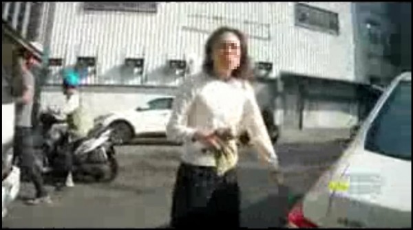 李退之夫人郭貞慧發現車子遭拖吊,立刻上前希望警方能放車。(記者王捷翻攝)