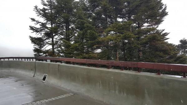 合歡山今天上午短暫飄雪,氣象局則說,因為測得雨量,應該是下冰霰而非下雪。(圖:仁愛分局提供)