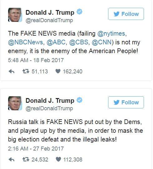 川普時常以大寫英文「FAKE NEWS」批評媒體。(圖片擷取自「Donald J. Trump」推特)