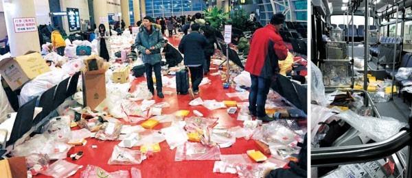 中客在濟州機場,將免稅品包裝拆開並把垃圾隨意丟棄在地上。(圖取自朝鮮日報)