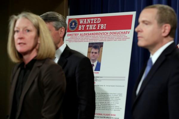 美國司法部代理助理部長麥科德女士15日召開記者會,宣布以涉及竊取雅虎5億帳戶個資起訴2名俄羅斯情報人員。(路透)