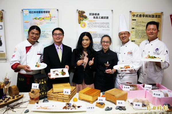 嘉義在地生產的「御正童仔雞」融合法式甜點做出的創意料理。(記者林宜樟攝)