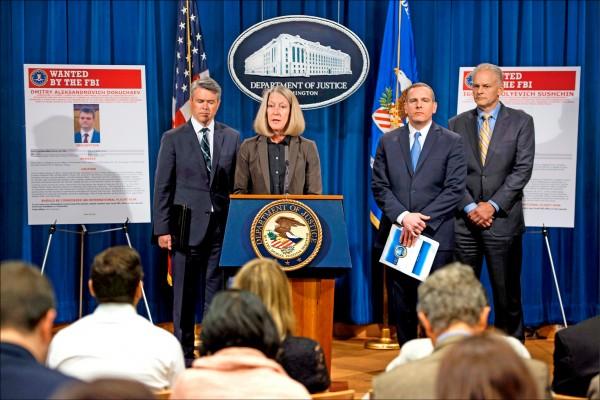 美國司法部十五日起訴涉及二○一四年雅虎使用者帳戶資料遭竊案的四名嫌犯,其中兩人為俄羅斯聯邦安全局情報人員。(法新社)
