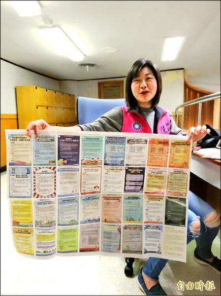 市議員陳儀君推動「參與式預算 新店500萬」,辦理30幾場說明會,並印製選案公報說明39案計畫內容。(記者何玉華攝)
