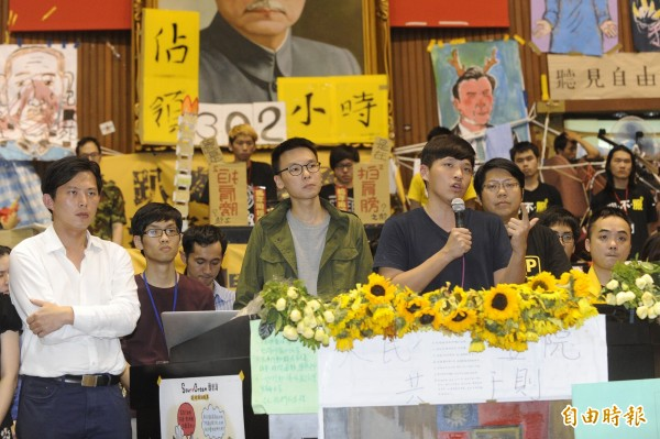 當年的太陽花學運關鍵人物林飛帆、陳為廷、黃國昌。(資料照,記者陳志曲攝)