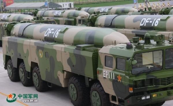 國防部今天報告實,中國已對台部署東風16型飛彈。(圖擷取自中國軍網)