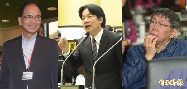 游錫堃、賴清德2018參選新北市長呼聲很高,台北市長柯文哲也早已表態爭取連任。(合成照)