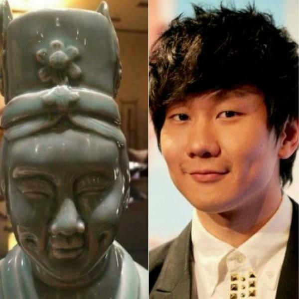 有網友在臉書分享「陶瓷版林俊傑」的照片,引發網友驚呼連連。(圖擷取自爆料公社)