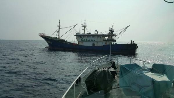 「浙岭漁69173號」在我國海域非法拖網捕魚。(記者吳昇儒翻攝)