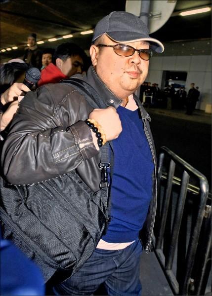 金正男上月在吉隆坡機場遭刺殺,他的遺體今天途經北京被送回平壤。(法新社)