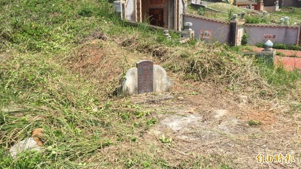 新竹縣生態和文史工作者都說,如圖採人工割草掃墓的方式,對先人、對環境,都是有「愛」、友善的。(記者黃美珠攝)