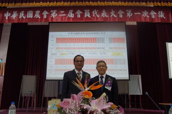 中華民國農會選舉,現任理事長蕭景田(右)可望順利蟬聯,現任總幹事張永成(左)也將順利獲聘連任。(記者廖淑玲翻攝)