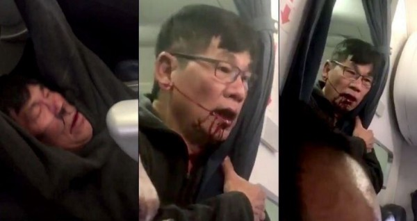 雄獅旅遊總經理游國珍指出,從來沒碰過聯航這情形,不論是傳統航空還是廉價航空都可能有機位超賣的情形,但沒聽過用抽籤方式將乘客「拉掉」。圖為聯航事件中被強制拖行的亞裔男子。(圖擷取自Twitter)