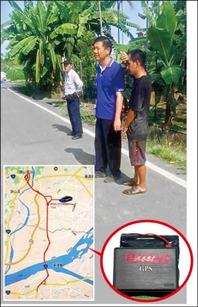 李姓竊賊(黑衣者)偷到「 科技香蕉」,被定位系統標 示出做案後的逃逸路線,警 方人贓俱獲。 (記者黃佳琳翻攝)